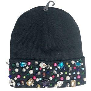 Tasha Nordstrom NEW Multicolored Gemstone Gem Black Winter Beanie Gift Secret